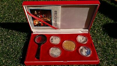 Hong Kong - 5 pce pure silver medallion set - tourist highlights
