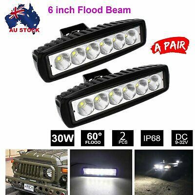 Pair 6inch Cree LED Work Light Bar Flood Beam Lamp Reverse DRL Offroad SUV