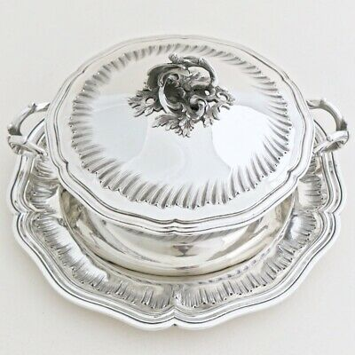 Antique French Sterling Silver Soup Vegetable Tureen Legumier Dish Plate Tray 3p