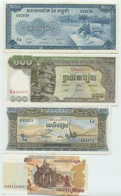 Cambodia set of 4 Banknotes Mint Unc 1956 to 2002 50 & 100 Riels- #C1 08