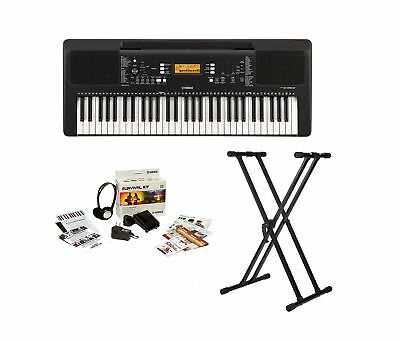 Yamaha PSRE363 61-Key Portable Keyboard Knox Gear Double X Stand & Survival Kit