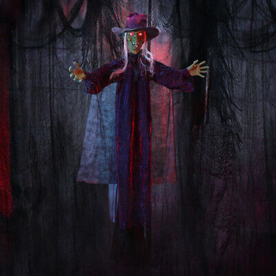 """Halloween Haunters 6FT 73"""" Hanging Animated LED Talking Witch Prop Decoration US"""