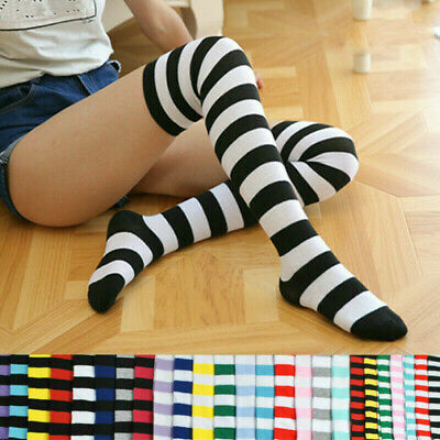 Ladies Girl Stripe Stripey Striped Over The Knee Thigh High Long Socks 21 Colour