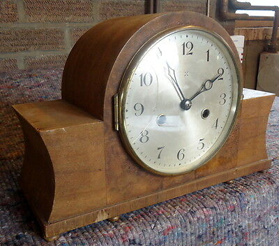 CHIMING  WALNUT MANTEL CLOCK.  Napolean Style, for Restoration with Pendulum.