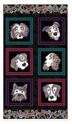Dog On It Quilt Panel * New *  Free Post * Cute Dogs * Black Metallic *