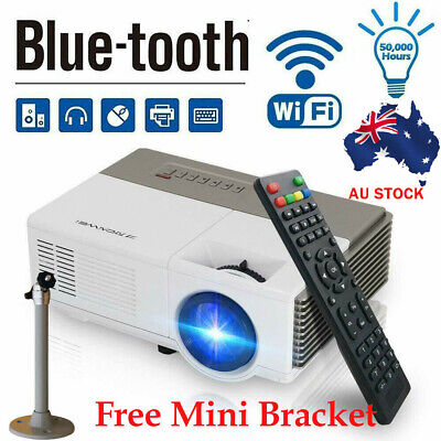 Smart HD Android Projector Wifi Bluetooth Video Home Cinema HDMI USB Movie Party