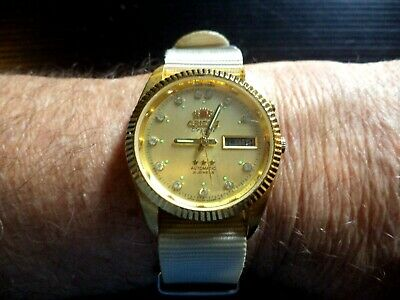 Beautiful Gold Plated Orient Crystal Diamond Dial. New Nylon Nato Strap. Nice!