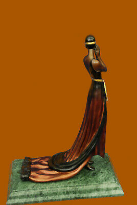 100% Solid Bronze Gorgeous Woman in Long Gown Dress Museum Quality Work Figurine
