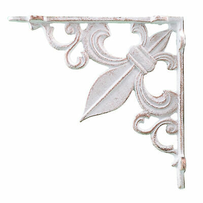 "Wall Shelf Bracket Cast Iron Brace Fleur De Lis Distressed White 7.38"" Deep"