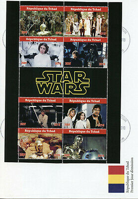 Chad 2019 FDC Star Wars Han Solo Princess Leia Luke Skywalker 8v MS Cover Stamps