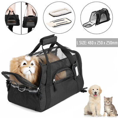 Large Pet Carrier Soft Sided Cat Dog Comfort Travel Tote Bag Travel Approved HE