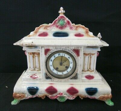Porcelain Mantle Clock - Ornamental Antique - Pillar Style - Rococo - Vintage