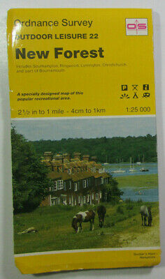 1992 Old Vintage OS Ordnance Survey 1:25000 Outdoor Leisure Map 22 New Forest