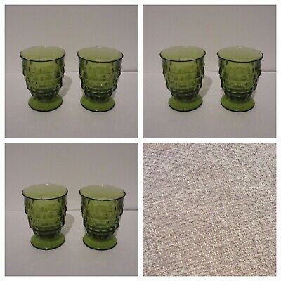 Indiana Glass Whitehall Fostoria American Green Footed Juice Glasses 6 Vintage