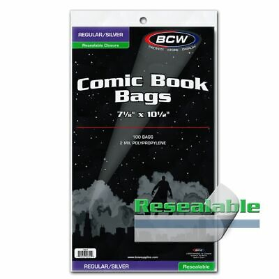 100 BCW Resealable Regular/Silver Comic Book Bags 2 Mil Acid Free Safe Storage