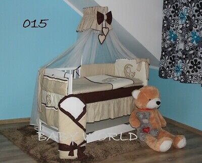 White Baby Cot + Foam Mattress + 13-Pcs Embroidered Bedding + Extra Barrier