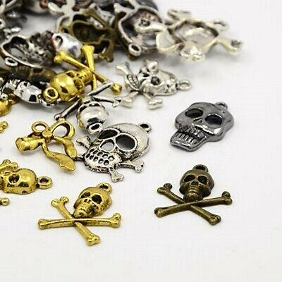 40g Metal Alloy Steampunk Skulls Charms Mixed Colour Pendants (G11)