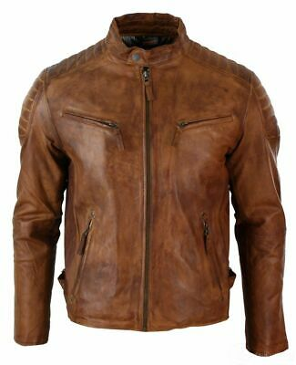 Men`s Slim Fit Retro Style Zipped Antique Brown Pure Leather Flying Biker Jacket