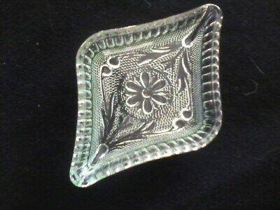 Depression Glass Green Floral Trinket Dish
