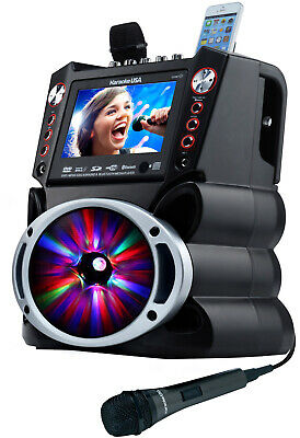 Karaoke USA Bluetooth All-In-One Karaoke Machine System w/ DVD Playback GF845