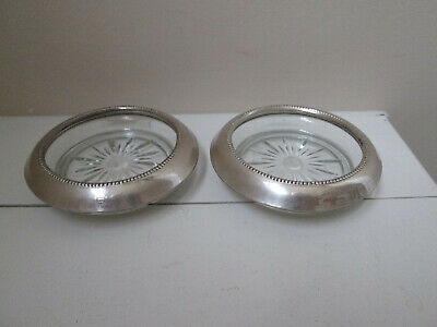 Set of 2 Frank M Whiting & Co Sterling Silver Glass Ashtray, Coaster Candy Dish