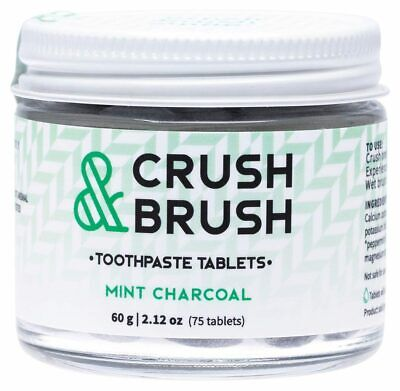 Crush & Brush Toothpaste Tablets - Mint Charcoal x75 - Nelson Naturals