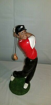 GOLFER STATUE HAND MADE PLASTER HOME DECOR SPORTS GOLF African Black Clubs
