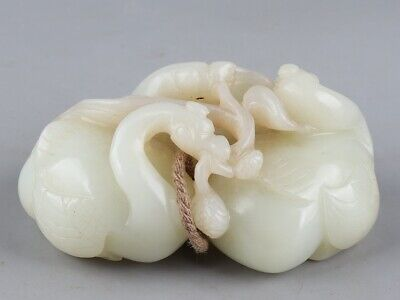 Chinese Exquisite Hand-carved Goose carving Hetian jade statue