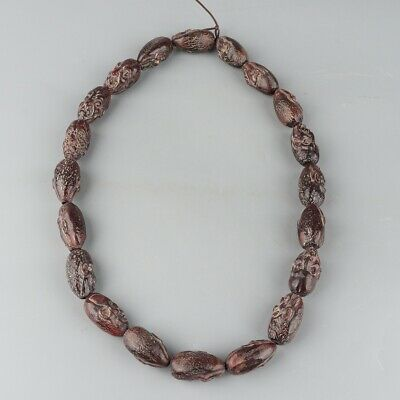 Chinese Exquisite Handmade Luohan Carving OX Horn necklace