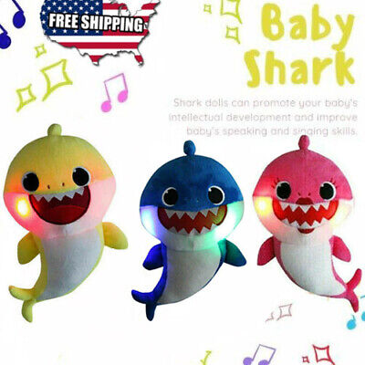 Baby Kids Family Shark Plush Singing Toy Led Light English Song Cute Doll Gifts