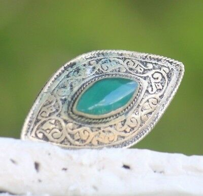 Old Turquoise  Afghan  Turkish Agate Stone Intaglio Lovely Islamic Ring 7.5 US