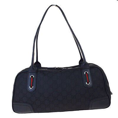 Authentic GUCCI GG Pattern Sherry Shoulder Bag Nylon Leather Black Italy 60EW143