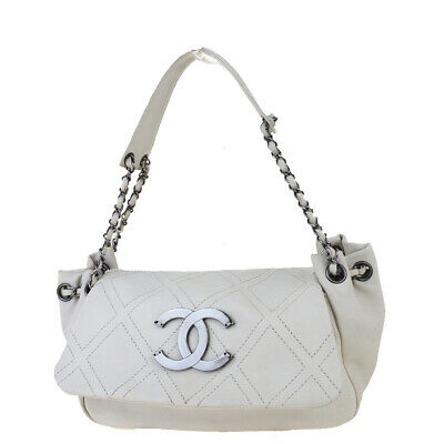Auth CHANEL CC Logo Quilted Chain Shoulder Bag Leather Off White Italy 11BJ989