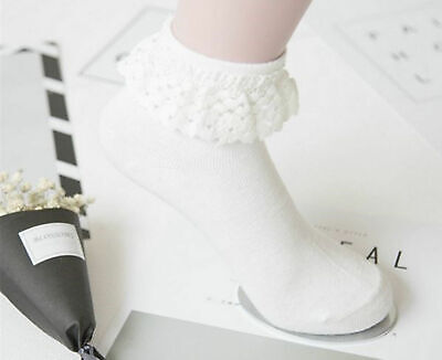 Women Lady Girls Retro Style White Fancy Frilly Ankle Socks Lace Ruffle Socks