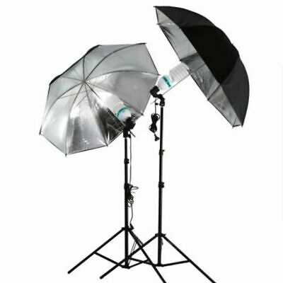 Studio Flash Light Umbrella 83cm Photo Grained Black Silver Reflective Reflector