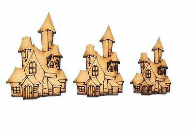 Wooden MDF Haunted House Shape Bunting Craft Embellishments Halloween Decoration