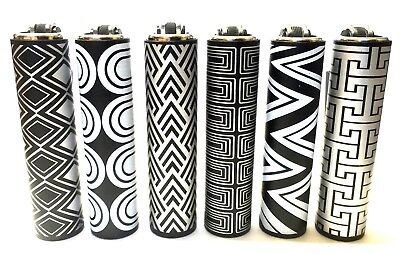 CLIPPER BLACK WHITE SILVER CLASSY METAL CASE GAS MINI LIGHTER and GIFT POUCH BAG