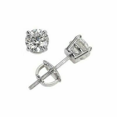 0.90ct ROUND CUT diamond stud earrings 14K WHITE GOLD  F COLOR VS1 FOR HER