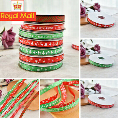 25 Yards/Roll Red Ribbon Happy Merry Christmas Decoration Gift Wrapping 22M UK