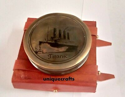 Nautical Solid Brass Poem Compass Titanic With Leather Box.