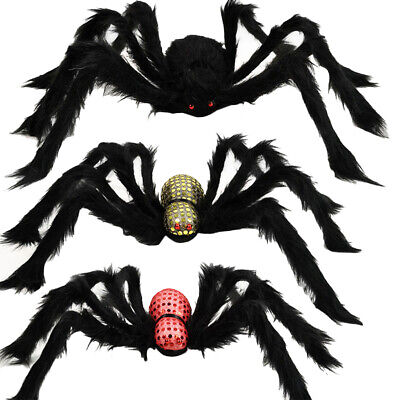 3Pcs Halloween Hairy Spider Horror Prop Simulation Plush Spider Tricky Toy
