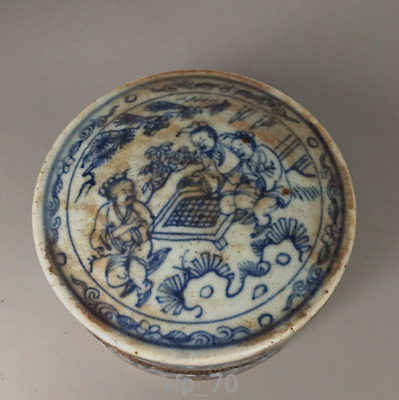 "3.8""Old China antique Qianlong Blue and white Ink cartridge Inkpad box"