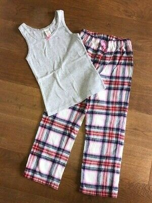 Johnnie B / Boden Girls Cosy Pyjama Set - Navy/Grey Check - Age 9-10