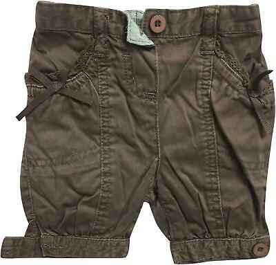 PRE-OWNED Girls Monsoon Brown Distressed Trousers Size 3-6 Months