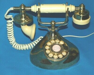 Vintage Rotary Dial Desk Phone French Style Gold Radio Shack Tandy Corp Rare