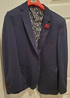 Suslo Couture Men's Blazer Navy Blue, Size 46/2XL - New With Tags