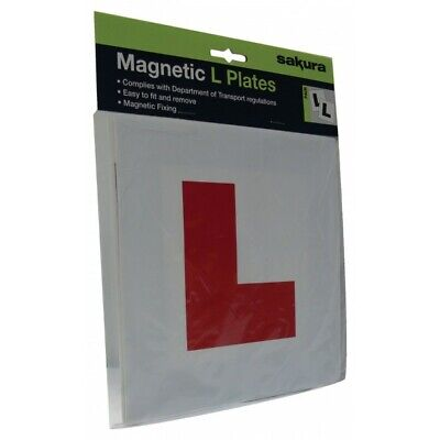 Sakura L Plates With Magnetic Strip - 2 Pack - Pair Of Car Learner Plates