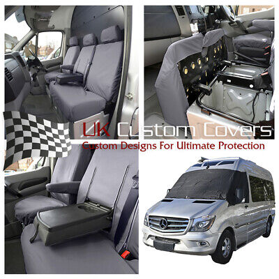 Mercedes Sprinter 2017 Front Seat Covers (Grey) & Screen Wrap (Black) 369 132