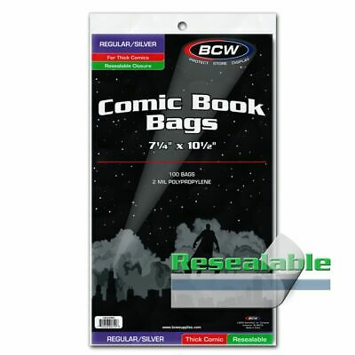 100 BCW Resealable Regular/Silver Thick Comic Book Bags Acid Free Safe Storage
