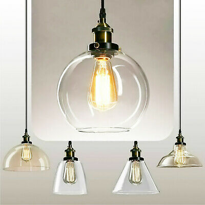 Industrial Retro Pendant Light Suspended Ceiling Lights Style Glass Lamp Shade